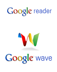 Google Reader & Google Wave logos
