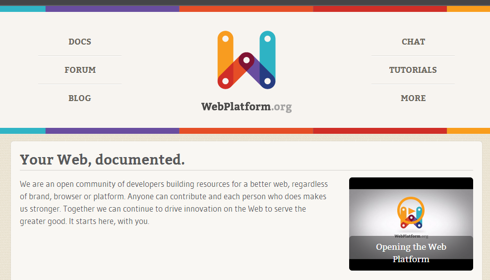 WebPlatform.org, documentacin web comunitaria