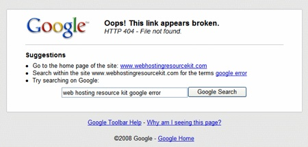 Google modificando el 404 desde su toolbar