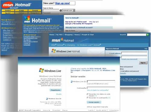 Hotmail versiones
