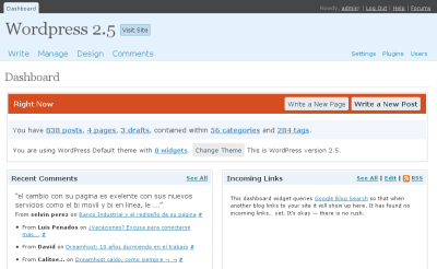 Wordpress 2.5 - Dashboard