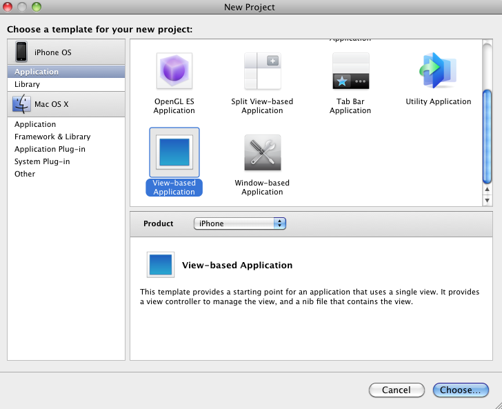 New-View-Based-App-Xcode