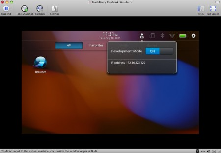 IP del Simulador de BlackBerry PlayBook